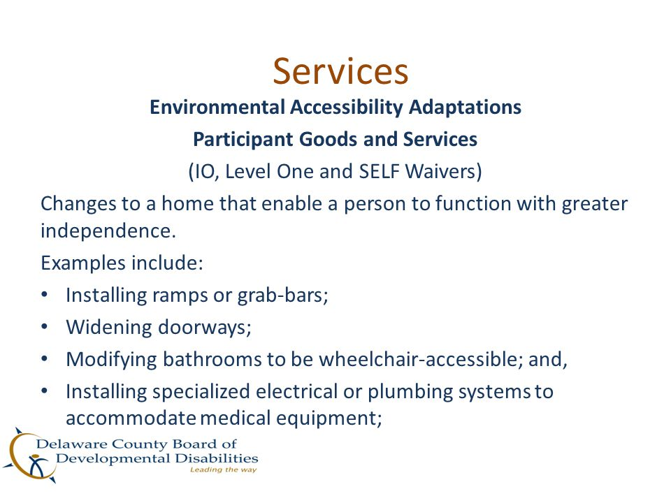 Environmental Accessibility Adaptations Participant Goods and Services