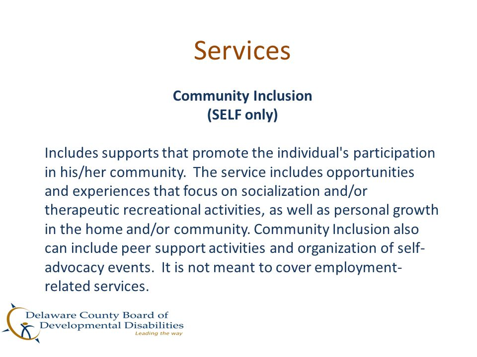 Services Community Inclusion (SELF only)