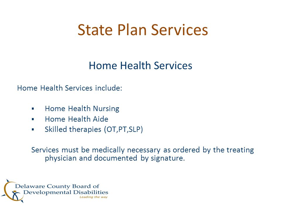 State Plan Services Home Health Services Home Health Services include: