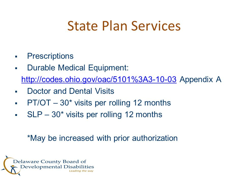State Plan Services Prescriptions Durable Medical Equipment: