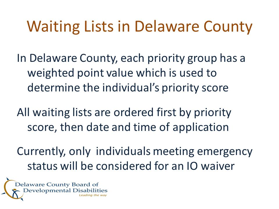 Waiting Lists in Delaware County