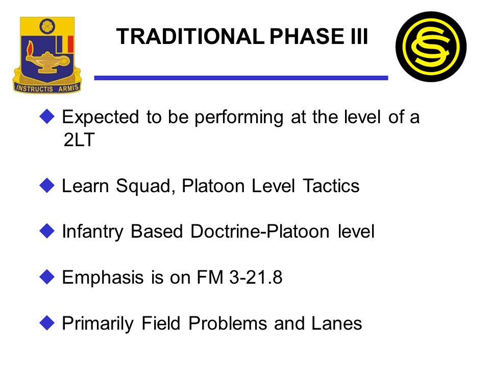 TRADITIONAL PHASE III Expected to be performing at the level of a 2LT