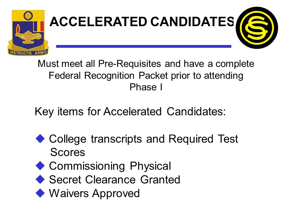 ACCELERATED CANDIDATES