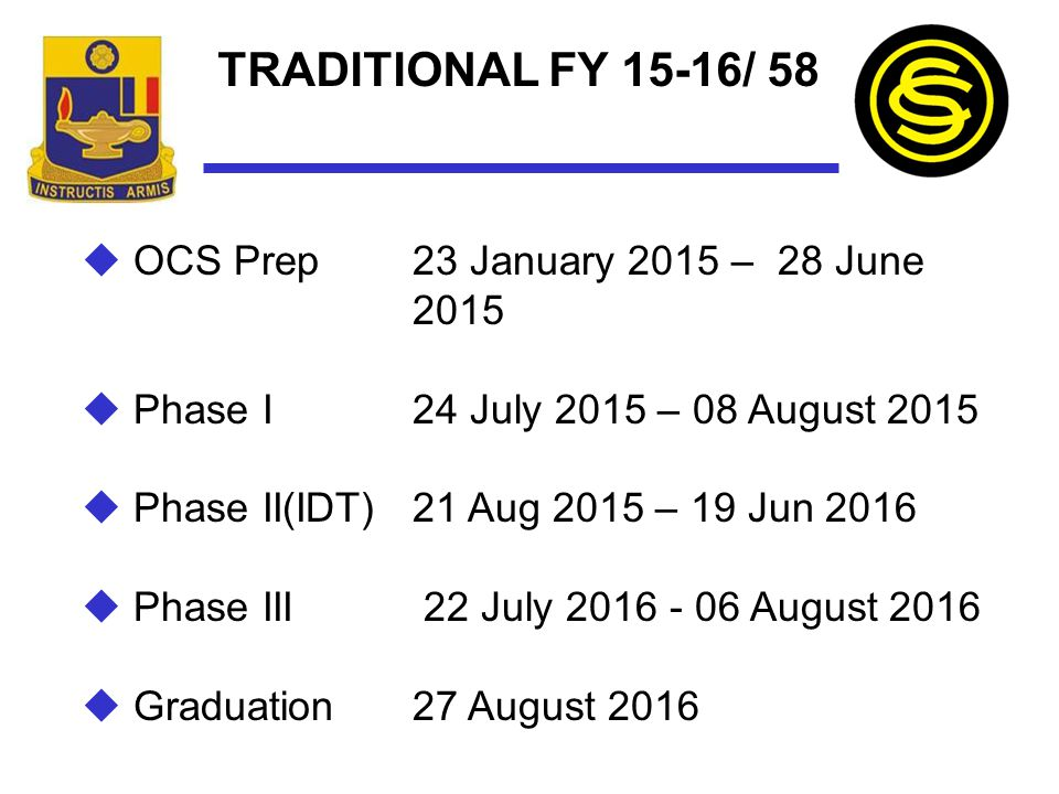 TRADITIONAL FY 15-16/ 58 OCS Prep 23 January 2015 – 28 June 2015