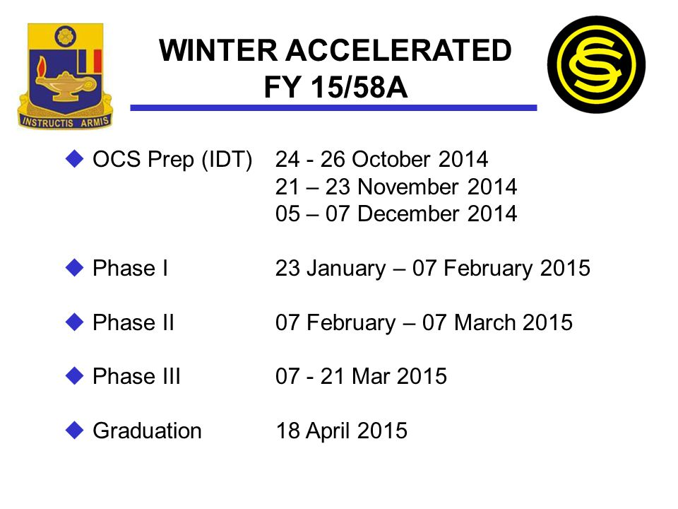 WINTER ACCELERATED FY 15/58A