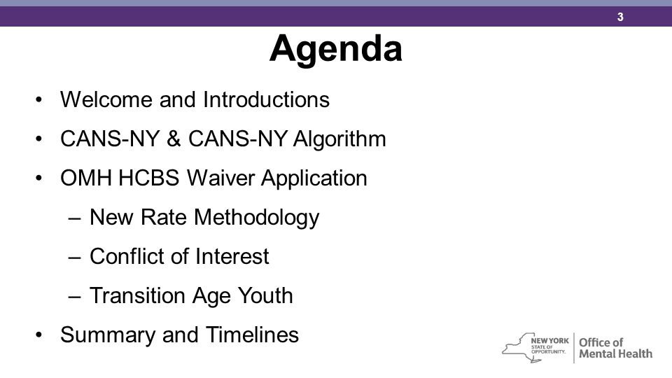 Agenda Welcome and Introductions CANS-NY & CANS-NY Algorithm