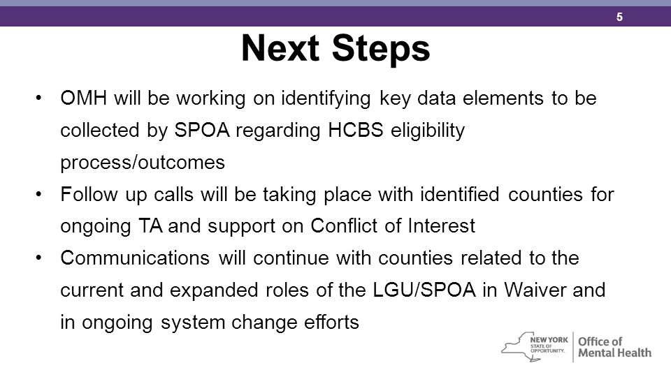 Next Steps OMH will be working on identifying key data elements to be collected by SPOA regarding HCBS eligibility process/outcomes.