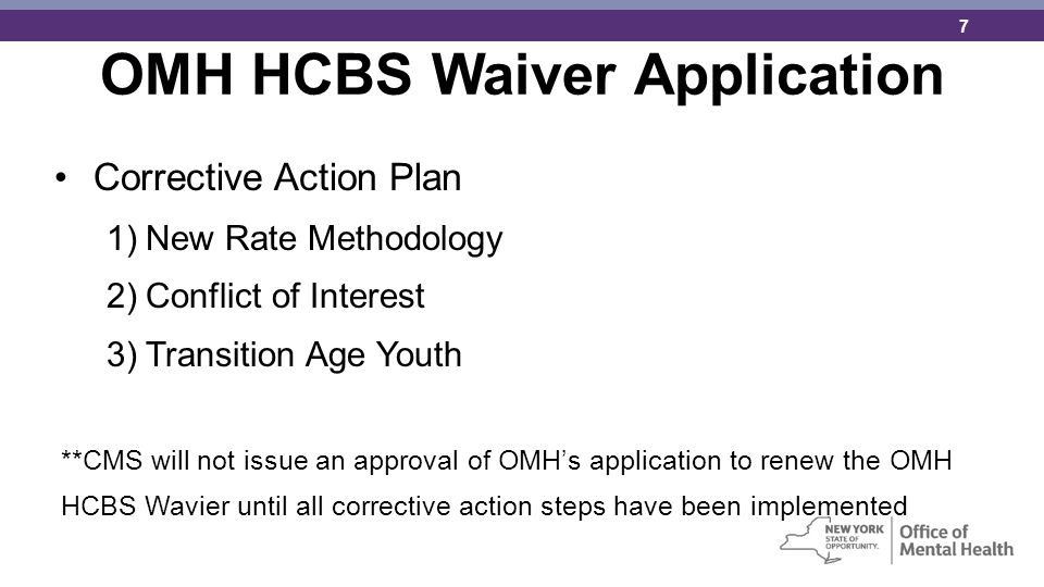 OMH HCBS Waiver Application