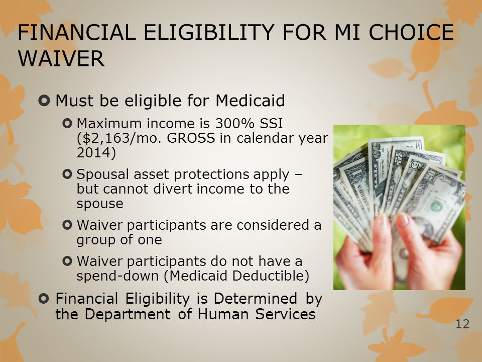 FINANCIAL ELIGIBILITY FOR MI CHOICE WAIVER