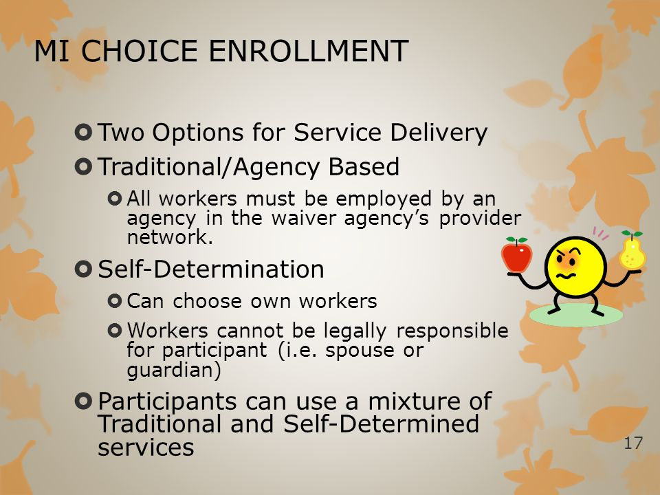 MI CHOICE ENROLLMENT Two Options for Service Delivery