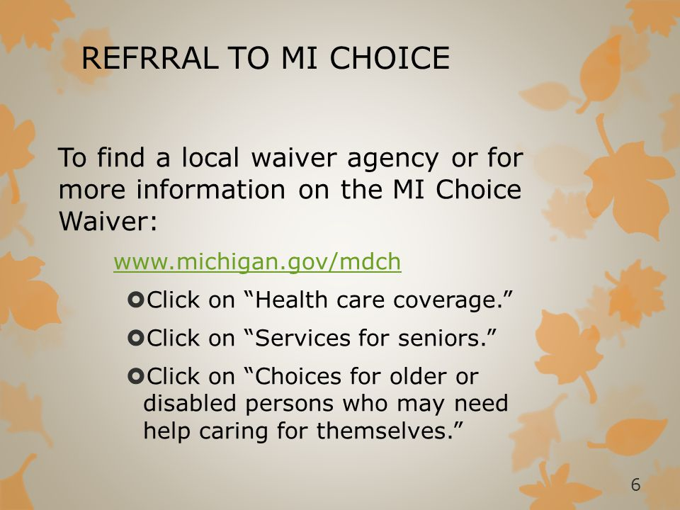 REFRRAL TO MI CHOICE To find a local waiver agency or for more information on the MI Choice Waiver: