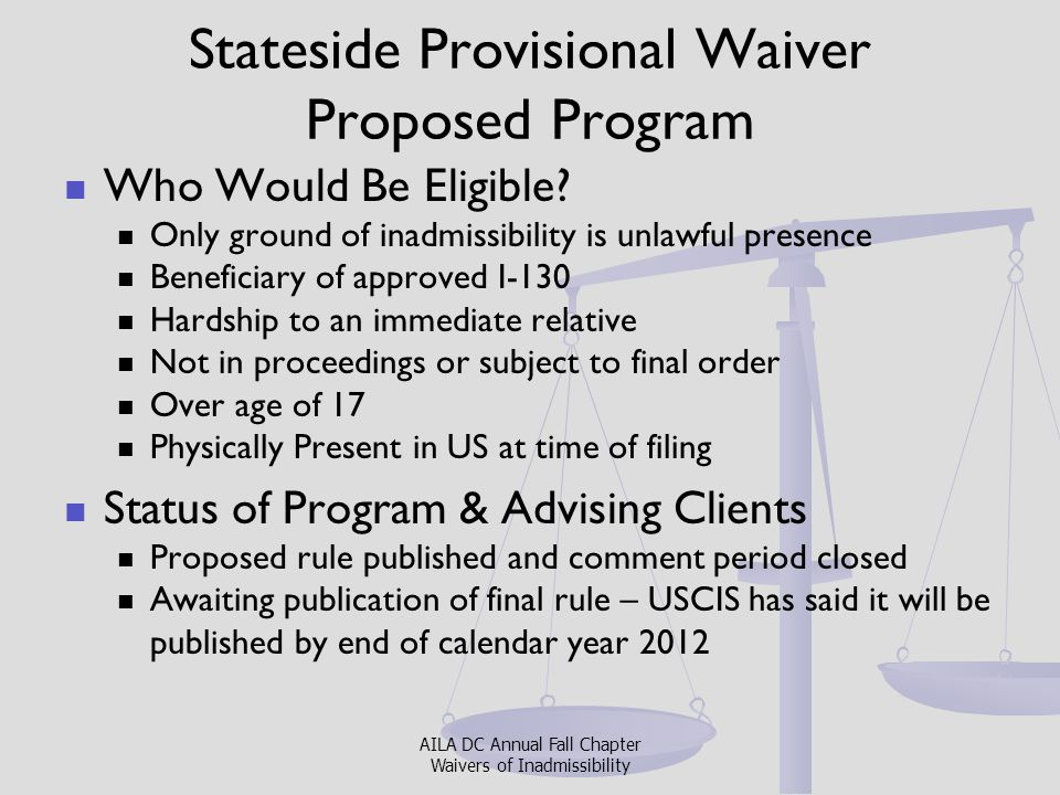 Stateside Provisional Waiver Proposed Program