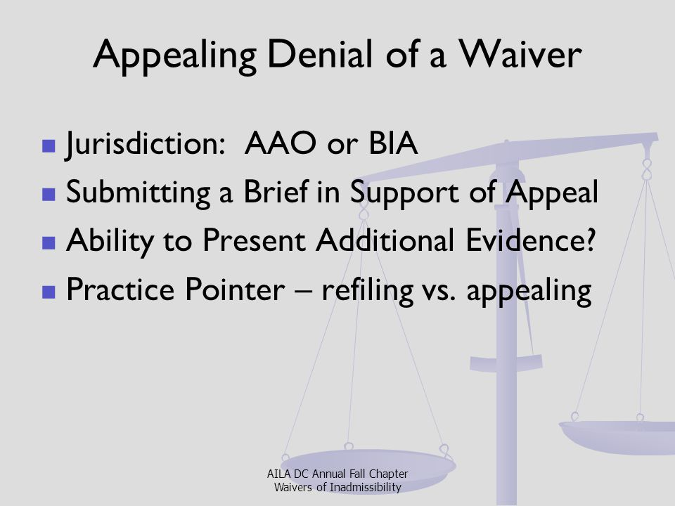 Appealing Denial of a Waiver