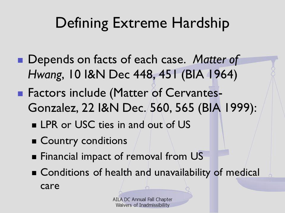 Defining Extreme Hardship