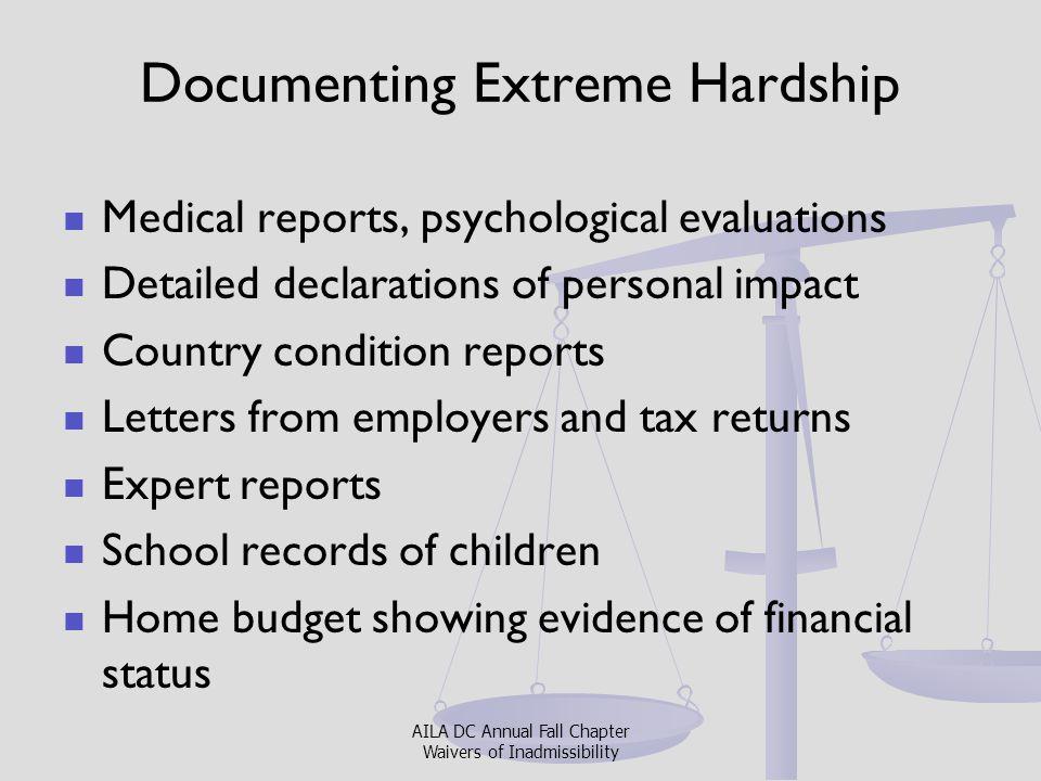 Documenting Extreme Hardship