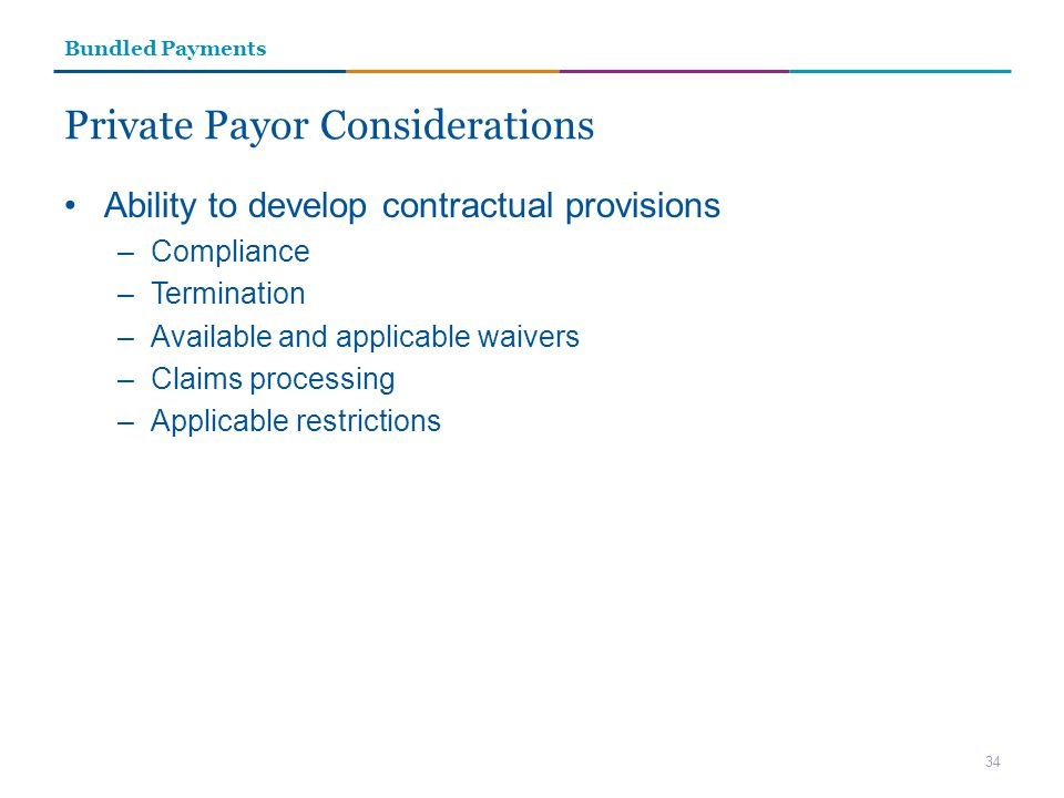 Private Payor Considerations