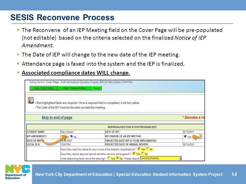 SESIS Reconvene Process