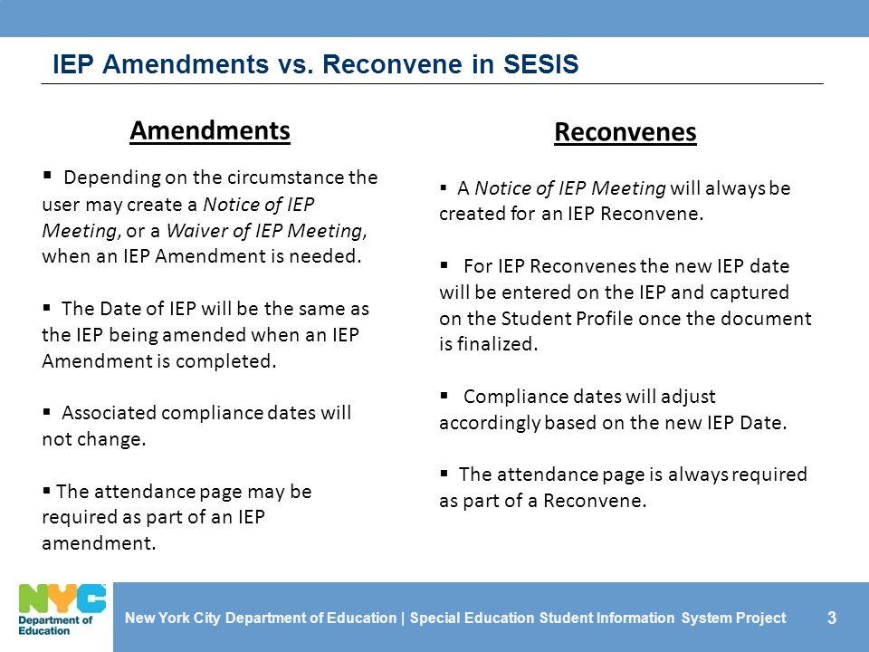 IEP Amendments vs. Reconvene in SESIS