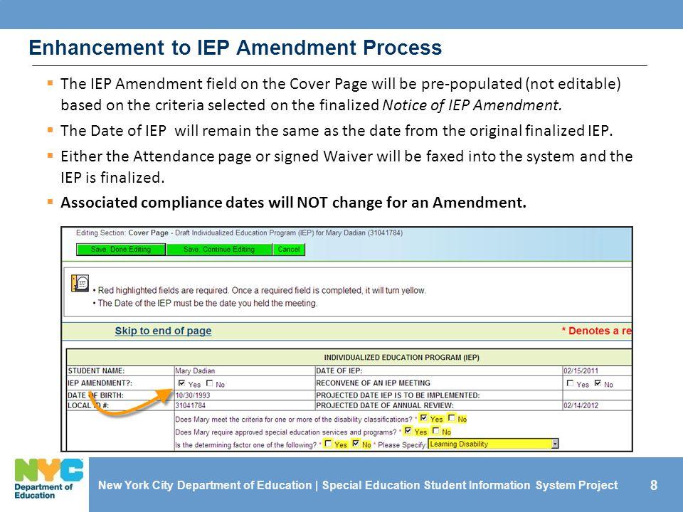 Enhancement to IEP Amendment Process