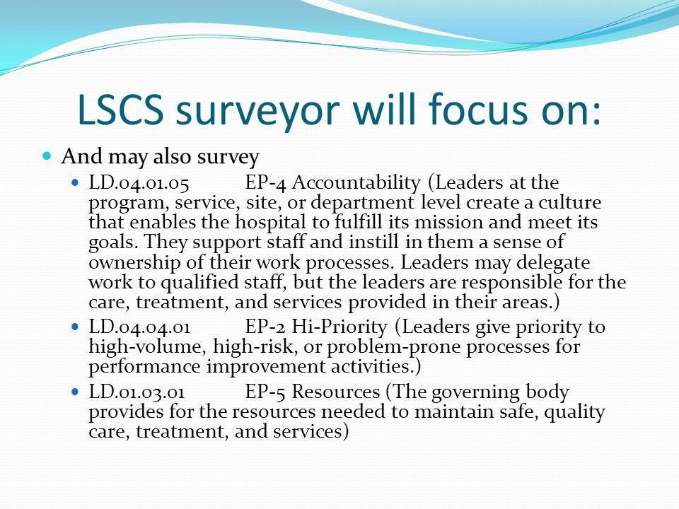 LSCS surveyor will focus on: