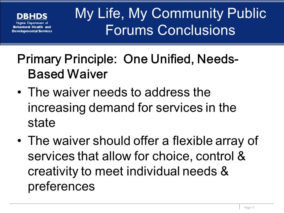 My Life, My Community Public Forums Conclusions
