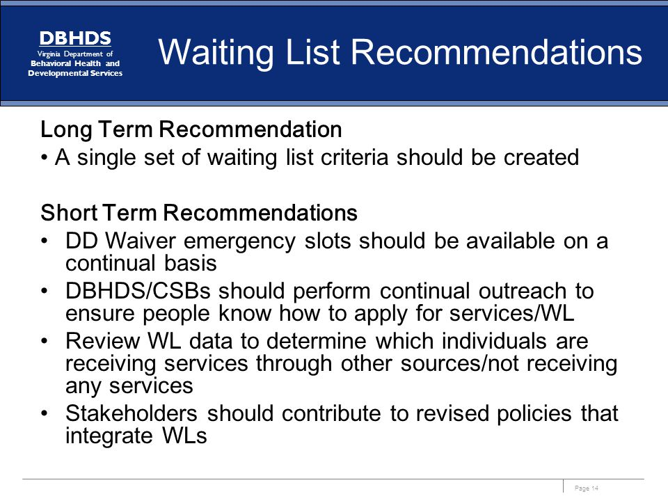 Waiting List Recommendations