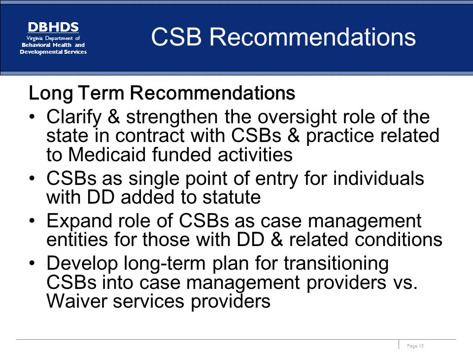 CSB Recommendations Long Term Recommendations