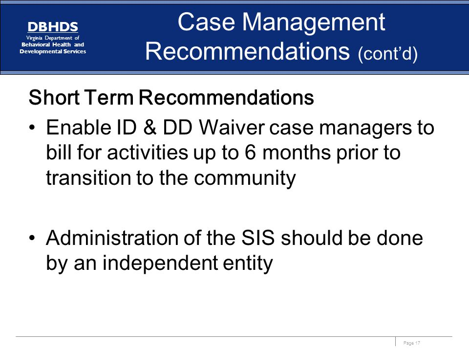 Case Management Recommendations (cont'd)