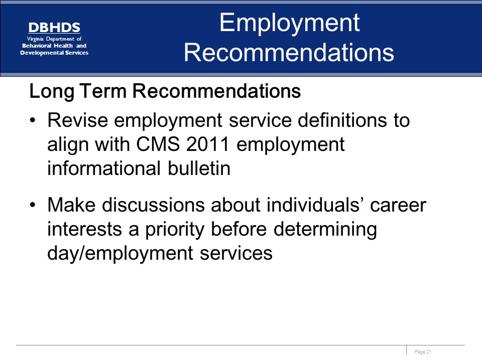 Employment Recommendations
