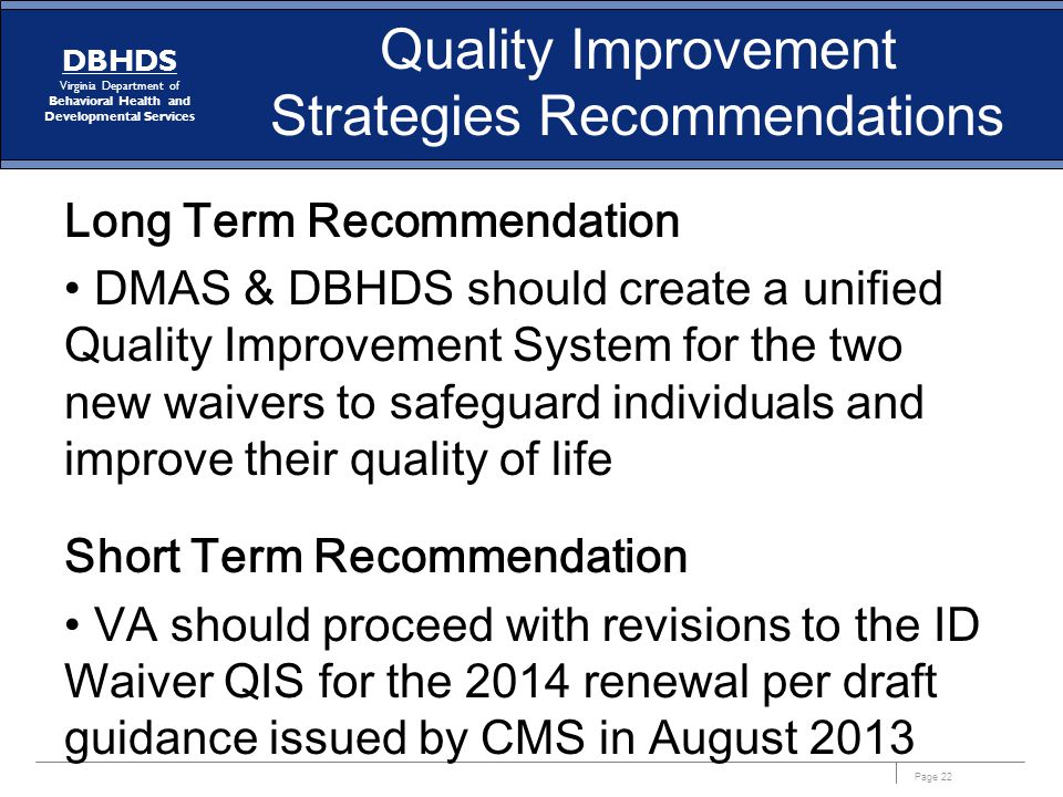 Quality Improvement Strategies Recommendations