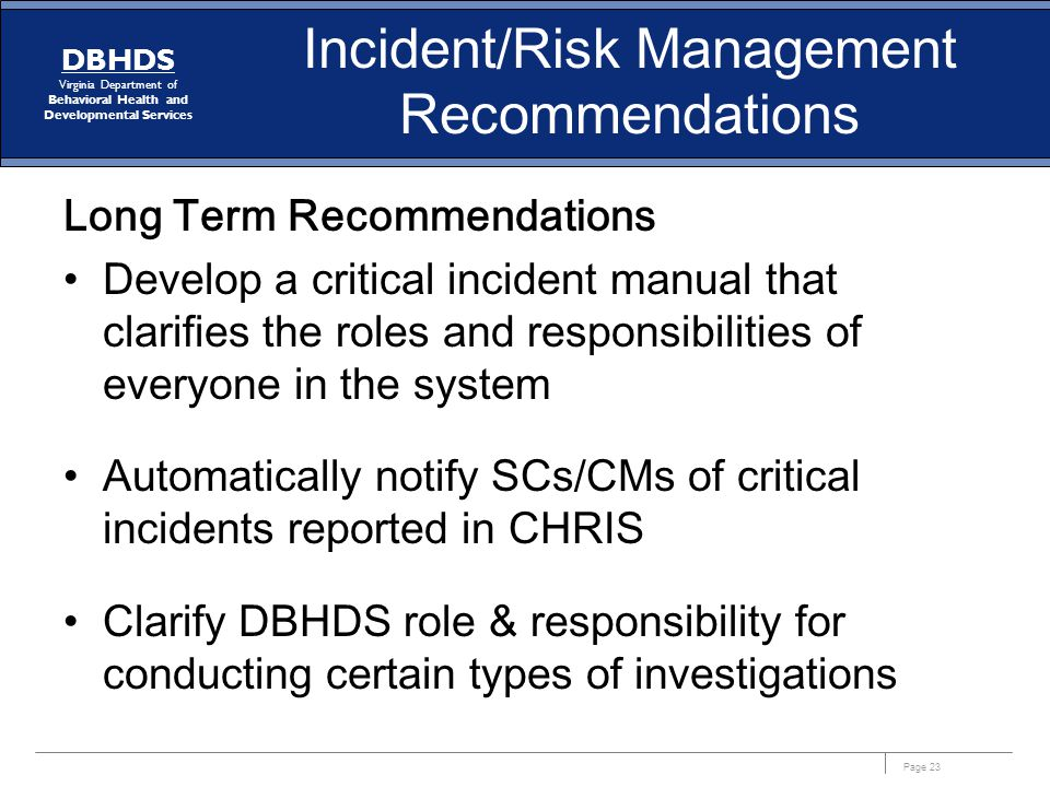 Incident/Risk Management Recommendations