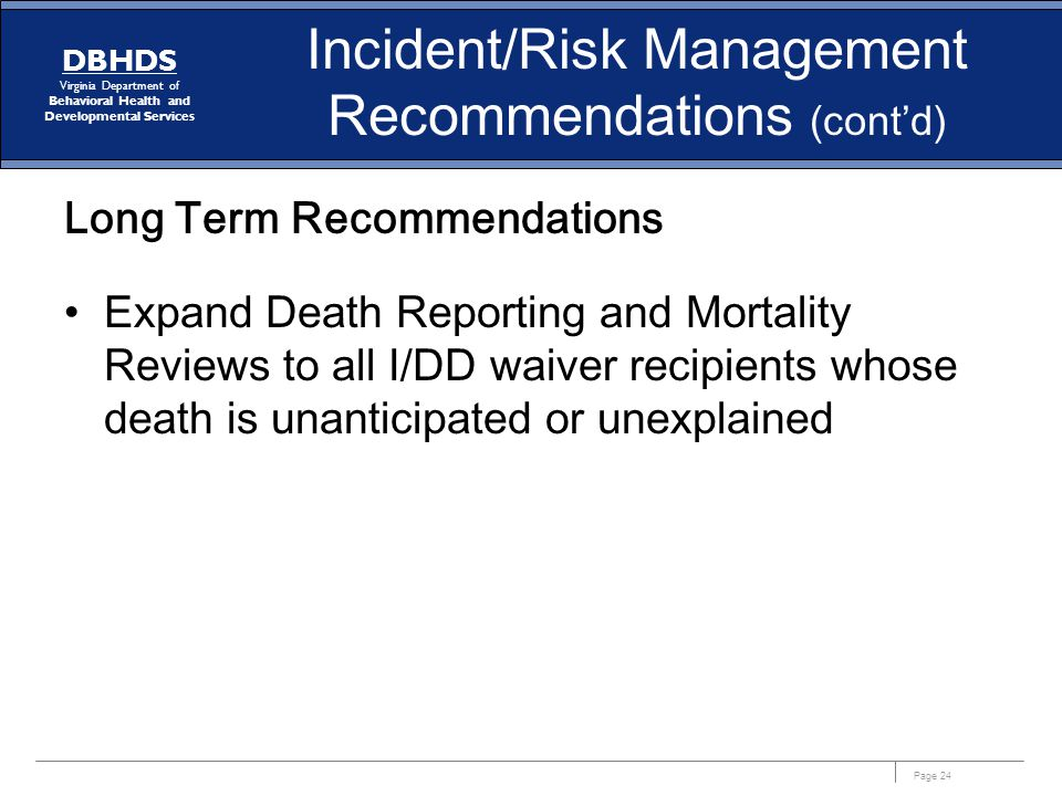 Incident/Risk Management Recommendations (cont'd)