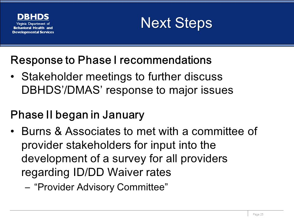 Next Steps Response to Phase I recommendations