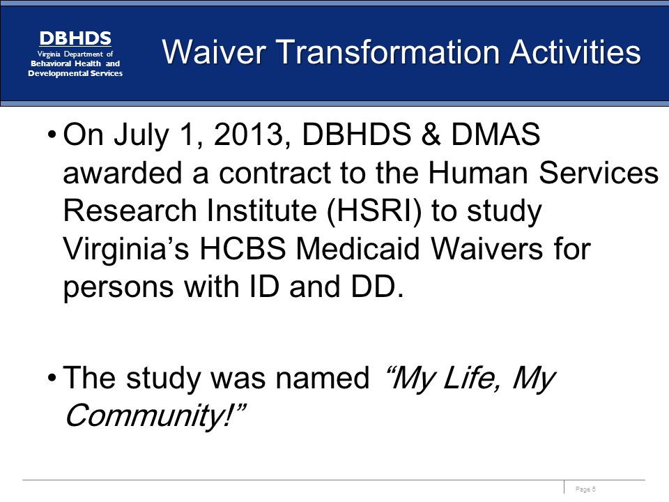 Waiver Transformation Activities