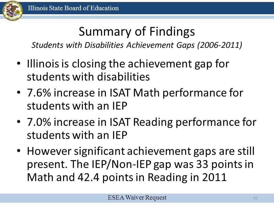 Summary of Findings Students with Disabilities Achievement Gaps (2006-2011)