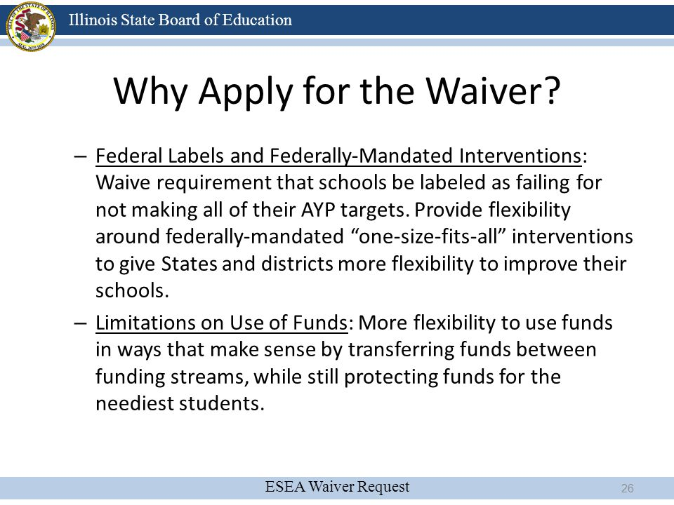 Why Apply for the Waiver