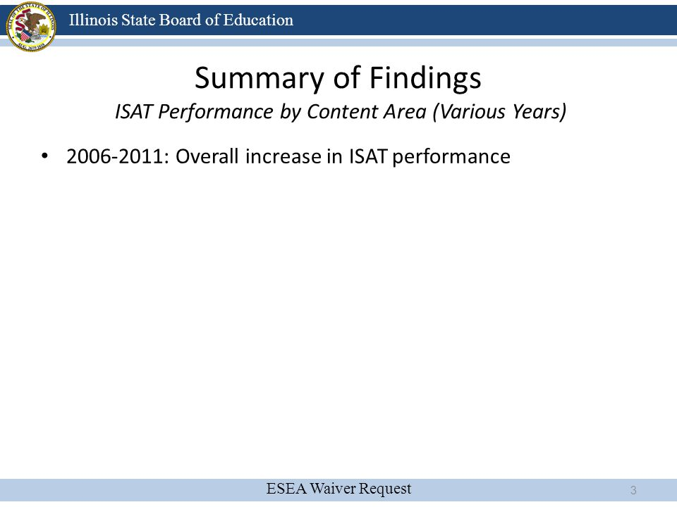 Summary of Findings ISAT Performance by Content Area (Various Years)