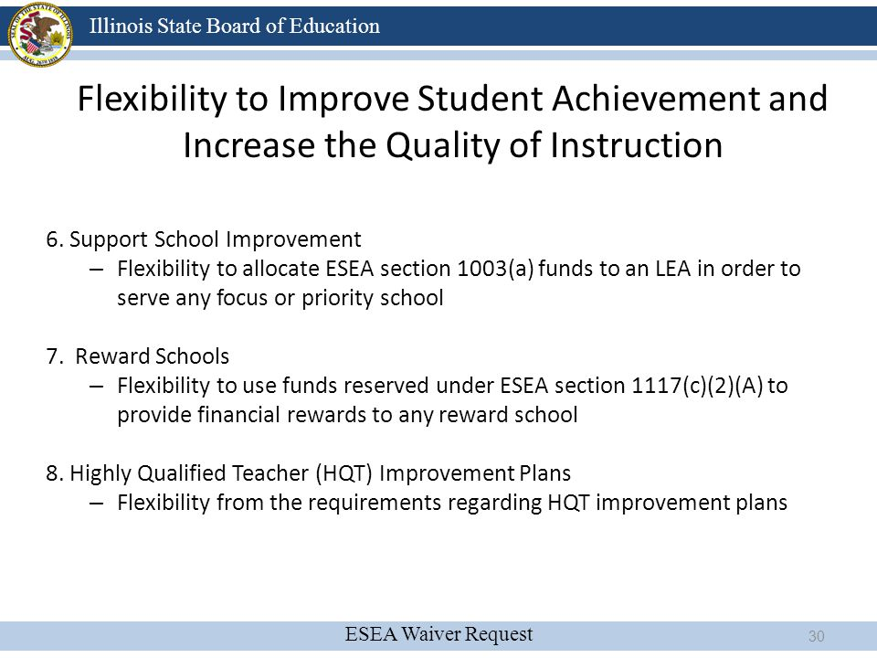 Flexibility to Improve Student Achievement and Increase the Quality of Instruction