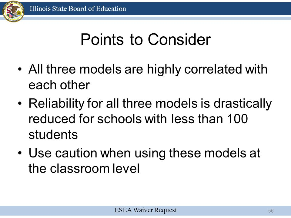 Points to Consider All three models are highly correlated with each other.