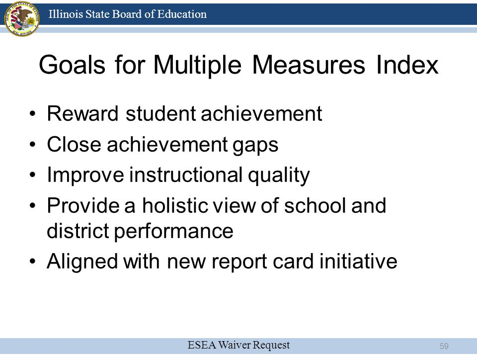 Goals for Multiple Measures Index