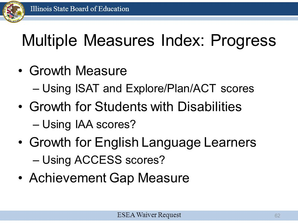 Multiple Measures Index: Progress