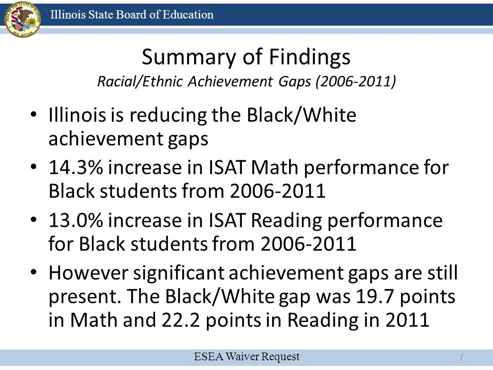 Summary of Findings Racial/Ethnic Achievement Gaps (2006-2011)