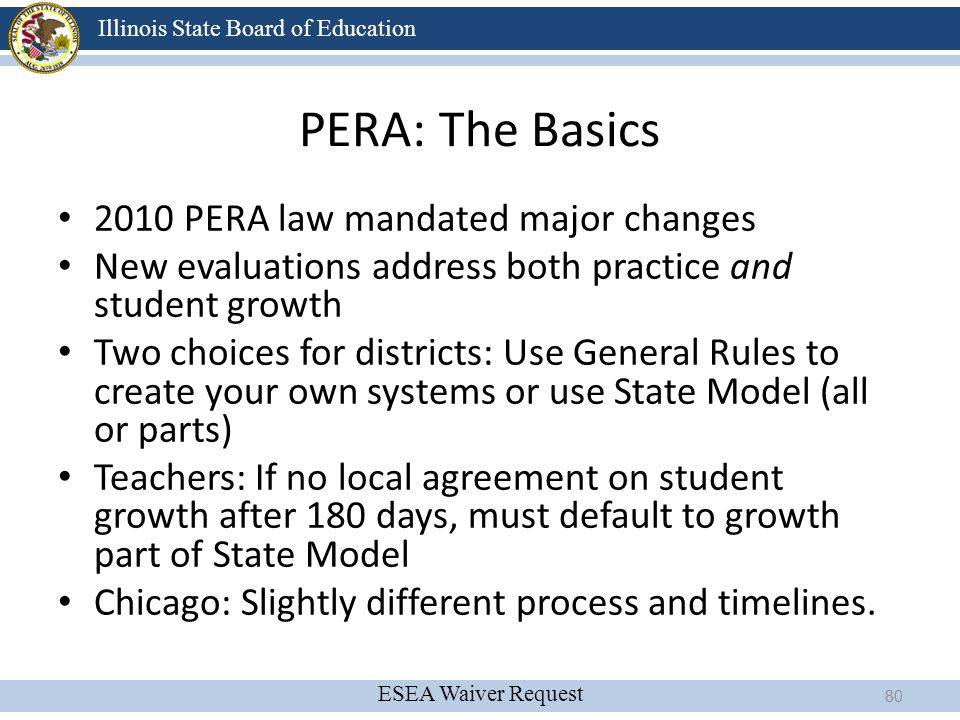 PERA: The Basics 2010 PERA law mandated major changes