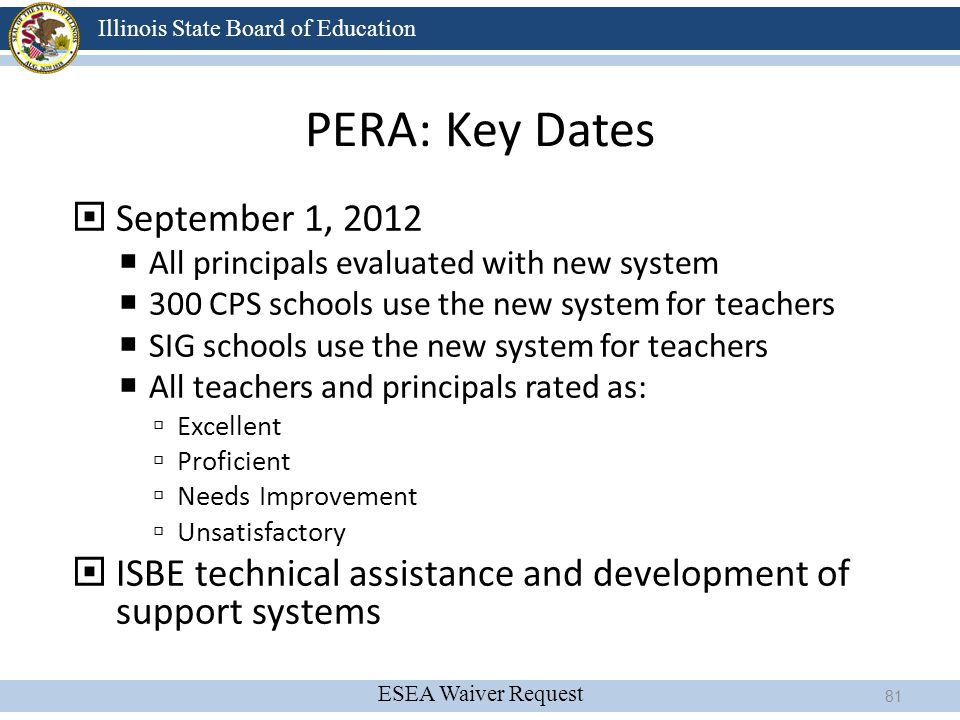 PERA: Key Dates September 1, 2012