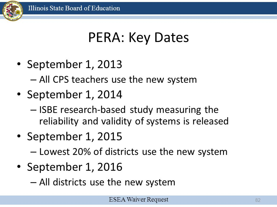 PERA: Key Dates September 1, 2013 September 1, 2014 September 1, 2015