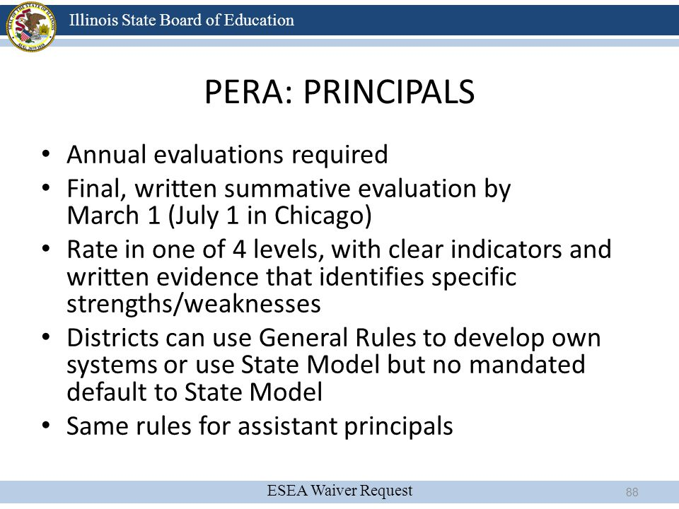 PERA: PRINCIPALS Annual evaluations required