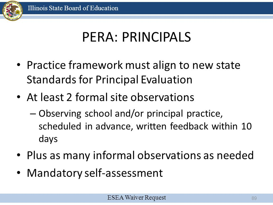 4/13/2017 PERA: PRINCIPALS. Practice framework must align to new state Standards for Principal Evaluation.