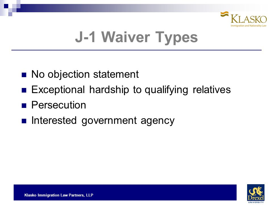 J-1 Waiver Types No objection statement