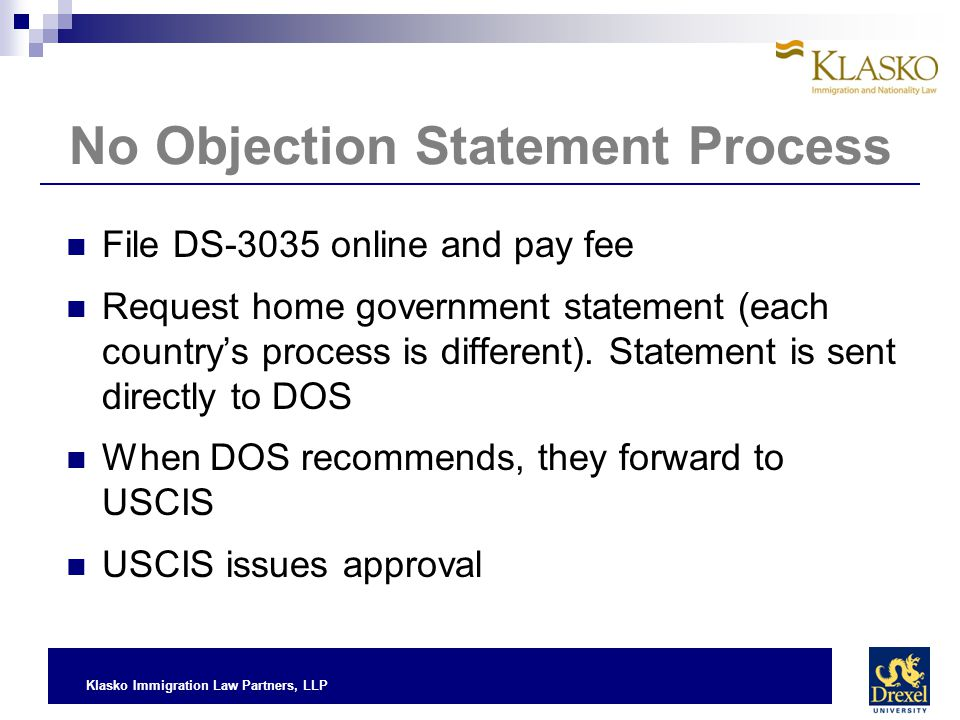 No Objection Statement Process