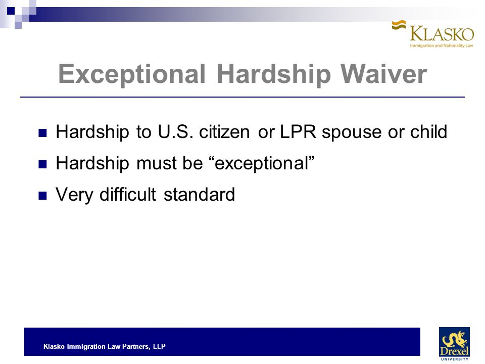 Exceptional Hardship Waiver